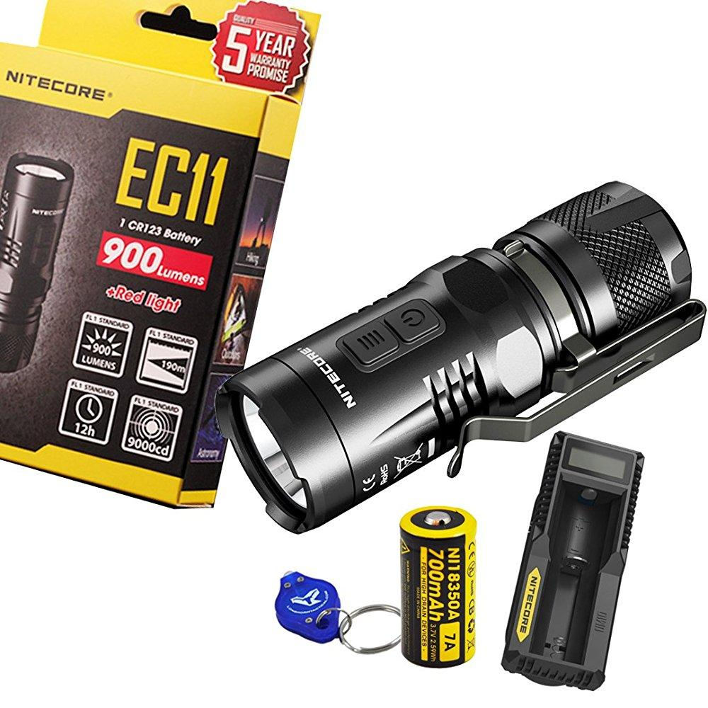 nitecore ec11 900 lumens brightest mini cree xm-l2 u2 led flashlight with nitecore rechargeable imr 18350 battery, um10 charger, and a lumen tactical keychain light