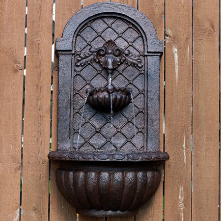 Sunnydaze Venetian Outdoor Wall Water Fountain, Includes Electric Submersible Pump, Iron Finish, 27 Inch