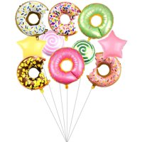 Sprinkle Donut Helium Balloons Doughnut Foil Aluminum Balloons Pink Donut Mylar Foil Balloon Donut Balloons Star Balloons Candy Balloons for Baby Shower, Birthday Party, Wedding Party Decorations
