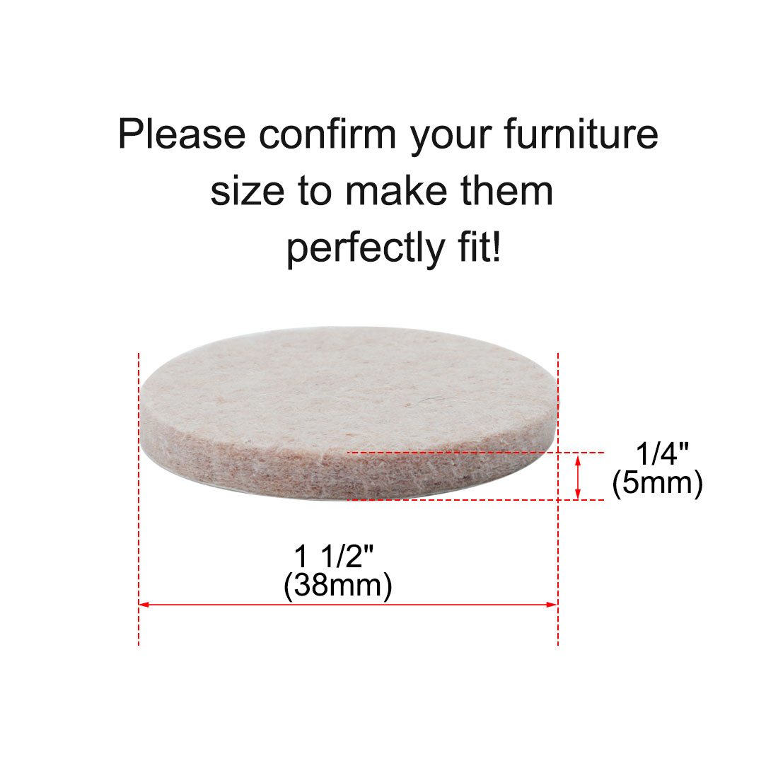 "Furniture Pads Round 1 1/2"" Self-stick Anti-scratch Table Floor Protector 36pcs - image 1 de 7"