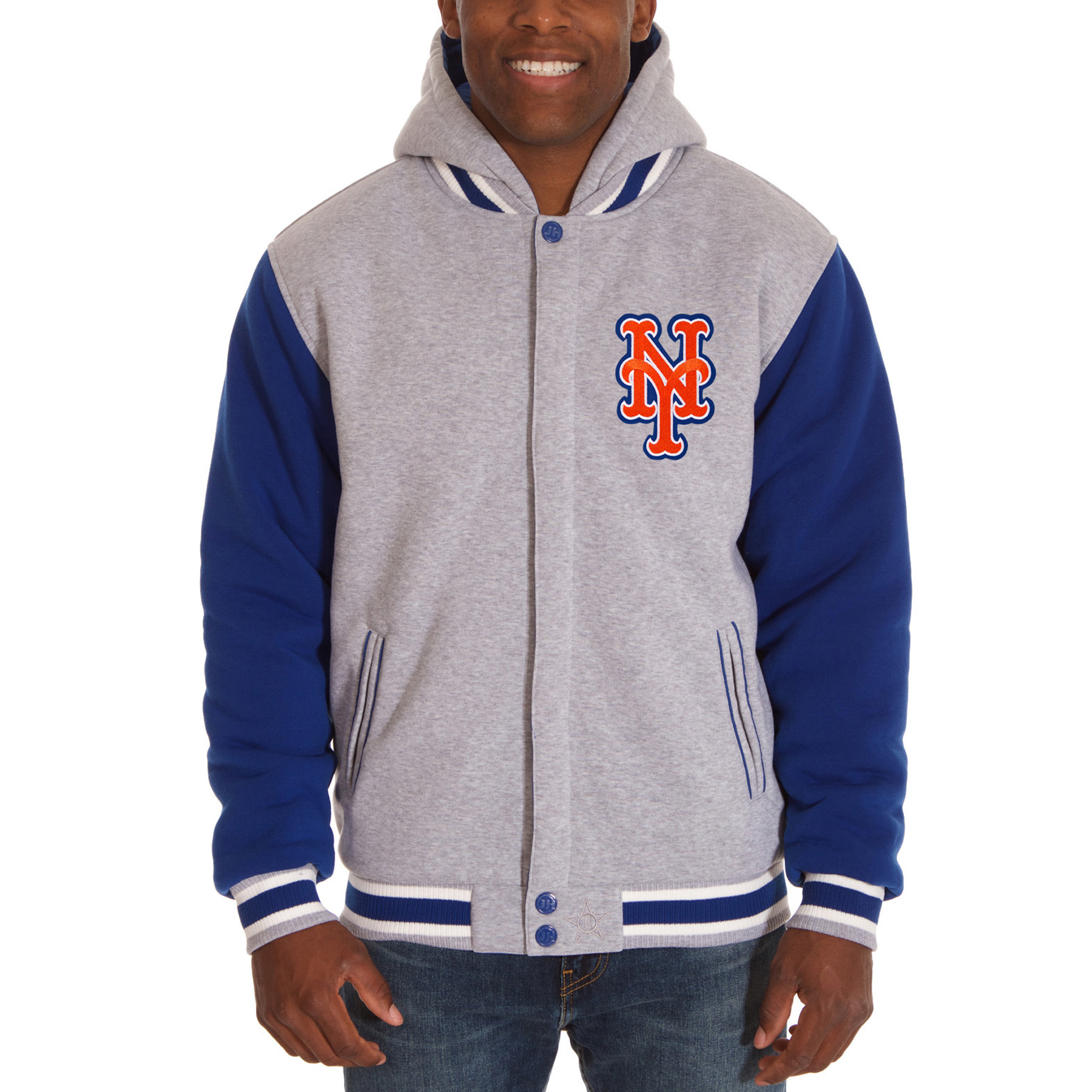 New York Mets JH Design Reversible Fleece Full Snap Hoodie - Gray