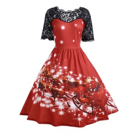 Huppin's Merry Christmas Women Ladies Vintage Christmas Party Dress Xmas Elegant Swing Lace Dress Christmas Fancy Dress