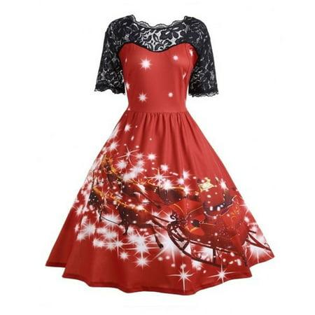 Huppin's Merry Christmas Women Ladies Vintage Christmas Party Dress Xmas Elegant Swing Lace Dress Christmas Fancy Dress](Halloween Fancy Dress Ideas Ladies)