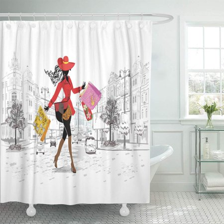 KSADK Paris Girl in Hat Shopping The Street Old City Lady Bistro Cafe Draw Dress Europe Facade Bathroom Shower Curtain 60x72 inch