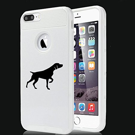 For Apple (iPhone 8 Plus) Shockproof Impact Hard Soft Case Cover German Shorthaired Pointer (White) White German Shorthaired Pointer
