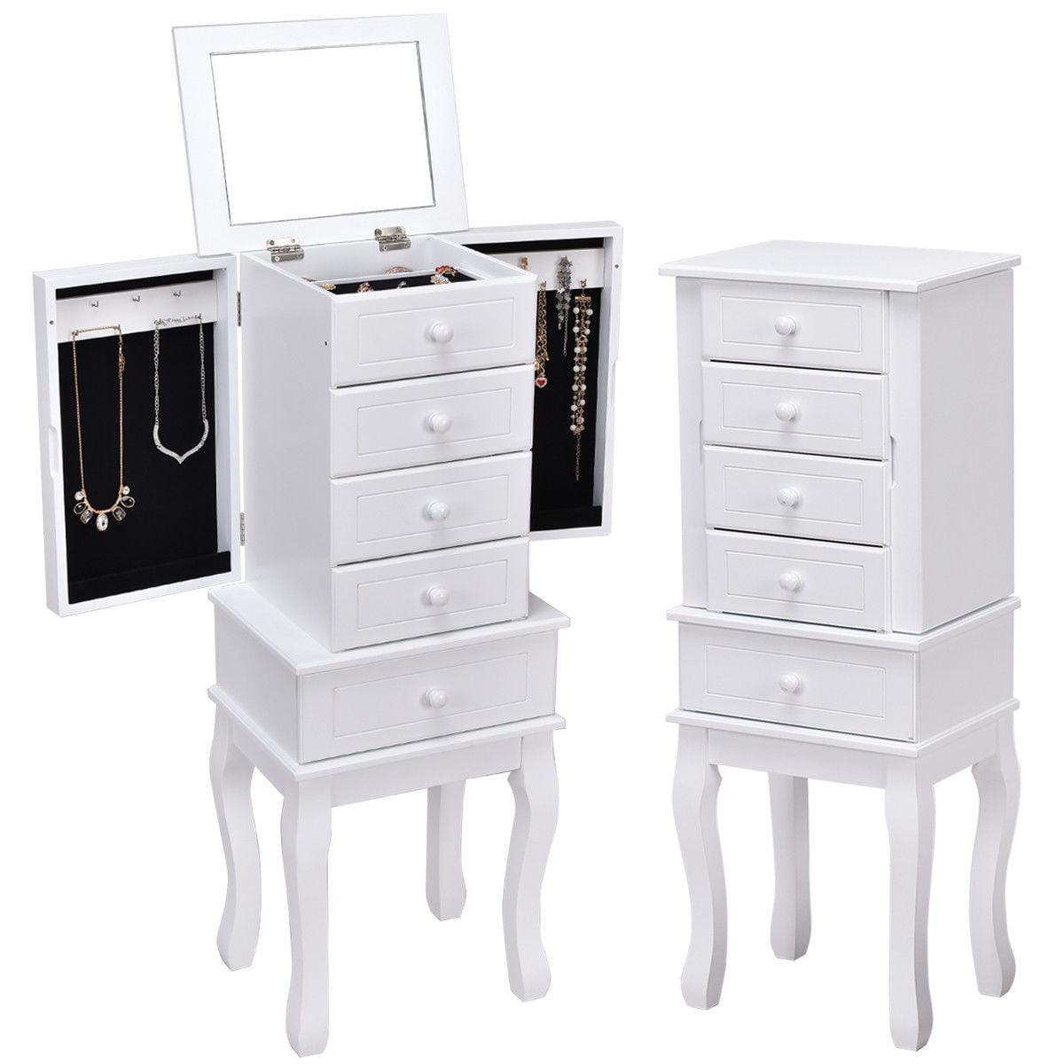 Gymax Jewelry Cabinet Armoire Box Mirrored Storage Chest Stand Organizer