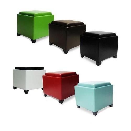 Armen Living Contemporary Storage Ottoman with Tray Red Color