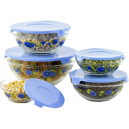 (Rebrilliant Stackable Glass 5 Container Food Storage Set)