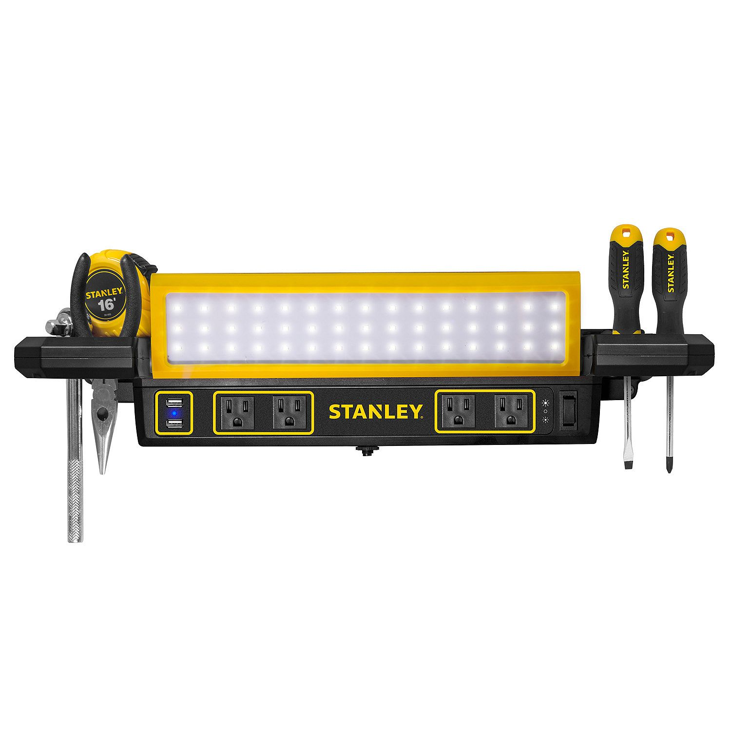 Stanley Workbench LED Light And Power Station, 40 Chip LED Shop Light With  Adjustable
