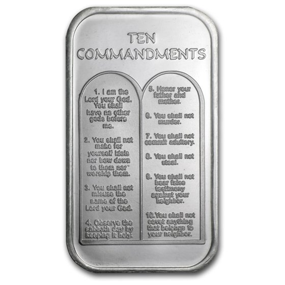 1 Oz Silver Bar Ten Commandments Hebrew Not Specified 1 Oz