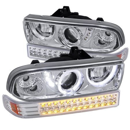 Spec-D Tuning For 1998-2004 Chevy Chevrolet S10 Blazer Halo Led Clear Projector Headlights + Led Bumper Lights Pair (Left+Right) 1998 1999 2000 2001 2002 2003 2004
