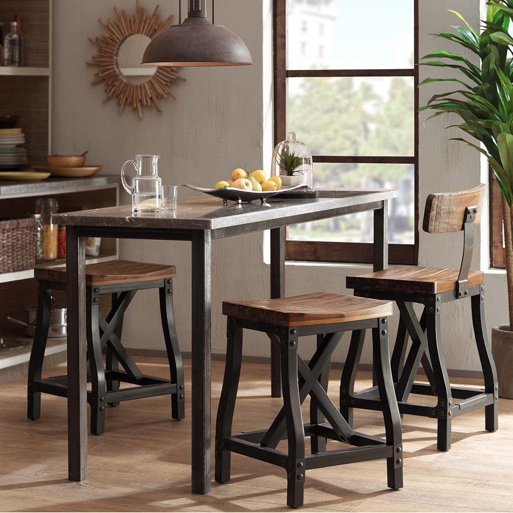 Amazing Modhaus Living Industrial Rustic Modern Acacia Wood Counter Height Bar Stools With Back Includes Pen Pdpeps Interior Chair Design Pdpepsorg