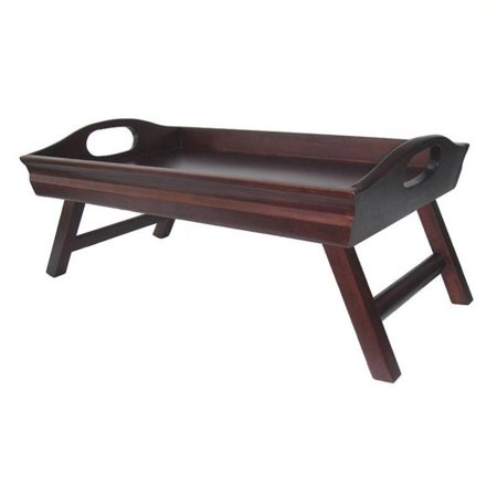 Pemberly Row Bed Tray with Foldable Legs and Large Handle in Antique Walnut