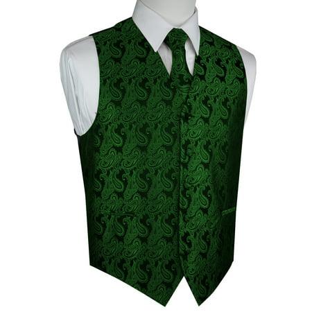Italian Design, Men's Tuxedo Vest, Tie & Hankie Set - Green Paisley (Green Joker Vest)