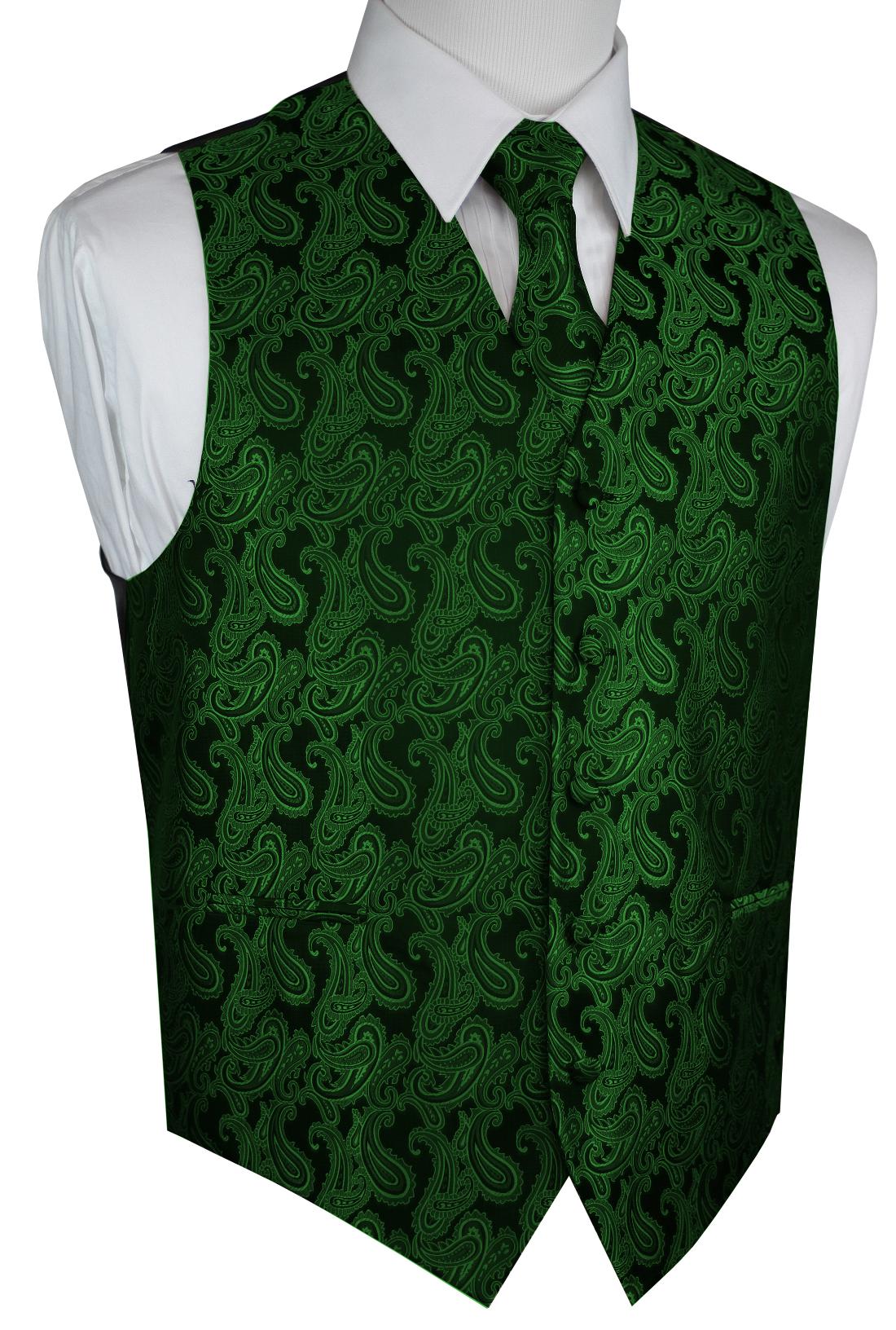 Italian Design, Men's Tuxedo Vest, Tie & Hankie Set - Green Paisley