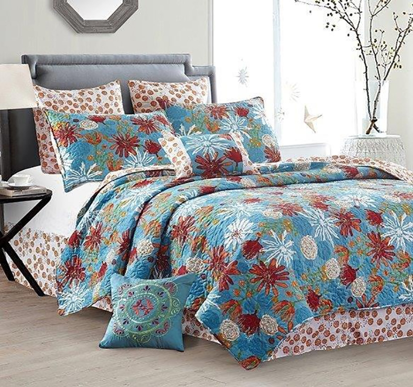 "Fun Summer ""Sun Baked"" Floral Quilt Set - King Size"