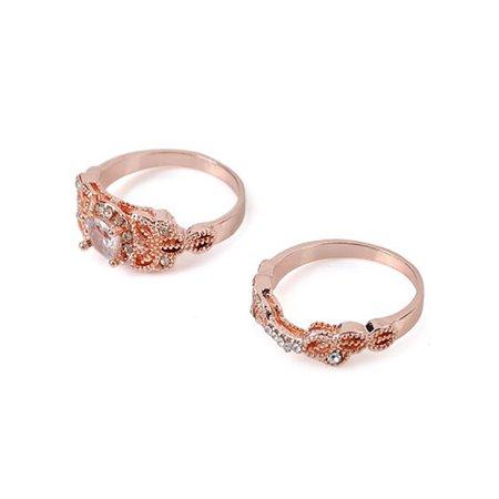 MAXSUN 2 Pcs Women Alloy Fashion Crystal Leaf Rings Jewelry Girl Gift Austrian Crystal Fashion Ring