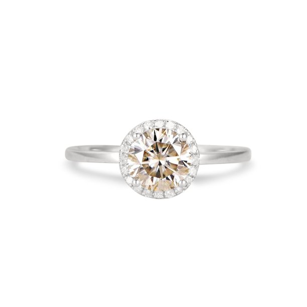 1.25 Carat Round cut Moissanite and Diamond Wedding Ring in 10k White Gold