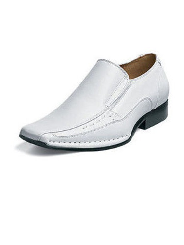 stacy adams templin bicycle toe slip-on uniform dress shoe with double elastic side gore (little kid/big kid),white,3.5 m us big kid