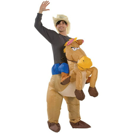 Riding on Horse Inflatable Adult Halloween Costume](Cowboy Costume Horse)