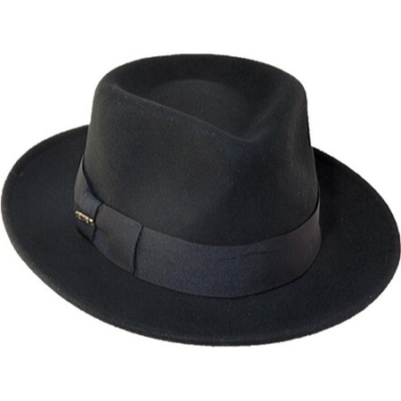 f18a6c3155f SCALA - Scala Classico Men's Wool Felt Crushable Black Fedora Hat -  Walmart.com