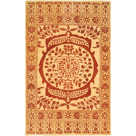 Safavieh taj mahal rida hand tufted wool area rug light for Red and gold area rugs