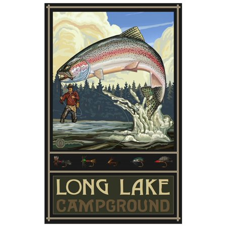 Long Lake Camp Minnesota Rainbow Trout Fisherman Forest Giclee Art Print Poster by Paul A. Lanquist (12