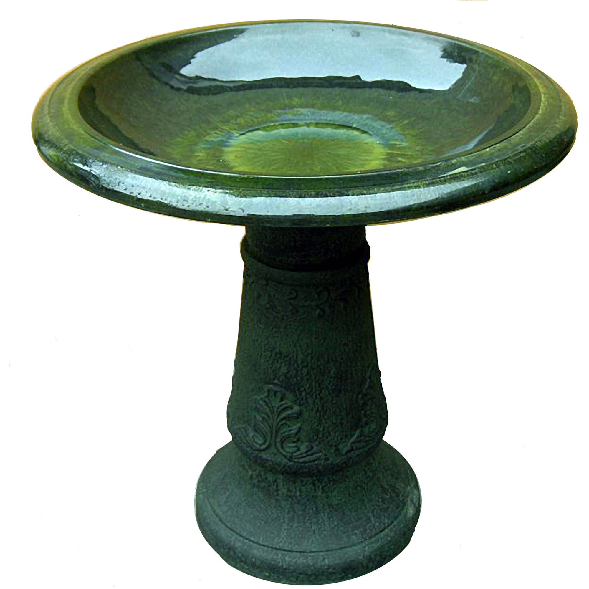 Florentine Marbelized Birdbath, Green by Generic