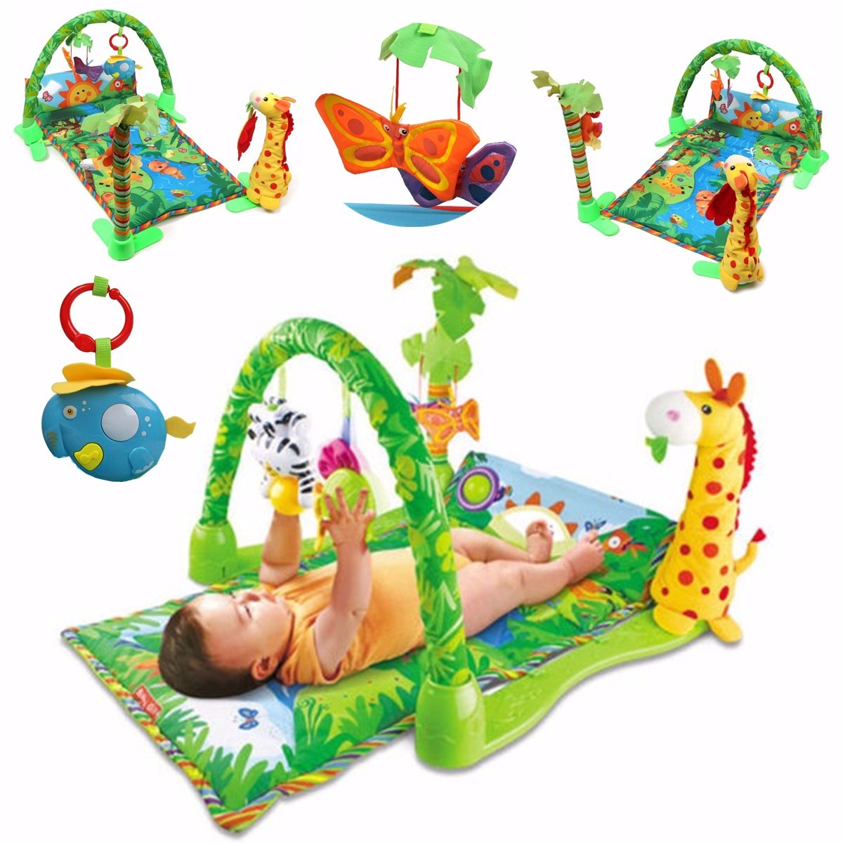Baby Gift 3 in 1 Rainforest Musical Gym Lullaby Baby Activity Mat Play Gym Toys