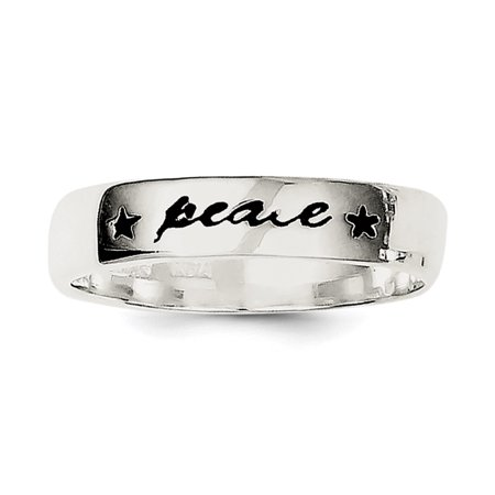 Sterling Silver Antiqued & Polished Peace Ring Size 6 - image 1 of 1