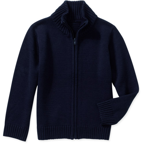 George Boys School Uniforms Zip Up Mock Neck Sweater
