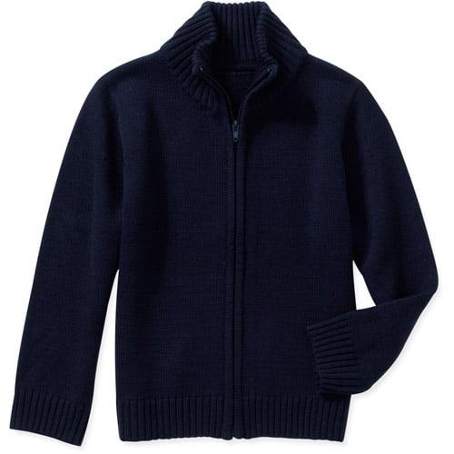 George Boys School Uniforms Zip Up Mock Neck Sweater