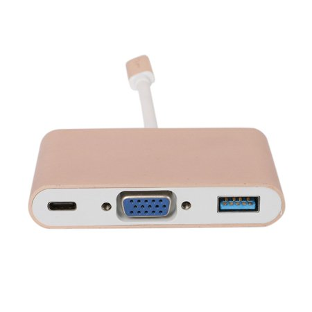 USB 3.1 Type C to VGA Monitor + USB 3.0 + Type-c Charger Adapter for