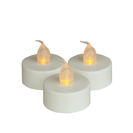 Set of 3 Battery Operated LED Flickering Amber Lighted White Christmas Tea Light Candles - Led Battery Tea Lights