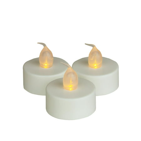 Set of 3 Battery Operated LED Flickering Amber Lighted White Christmas Tea Light Candles 1.5