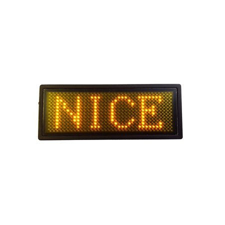 Programmable Scrolling SMD Dot Matrix LED Name Badge (12x36 pixels) Yellow, Store up to 6 different messages, 2 logos, and up to 1500 characters. Number of English.., By Panels Programmable Scrolling Led