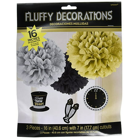 Amscan Rocking New Year Party Fluffy Lantern with Danglers Hanging Decoration (3 Piece), Multicolor, One Size
