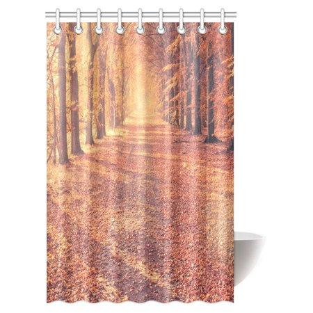 MYPOP Fall Trees Shower Curtain Set Fall Road In Park Autumn Leaves