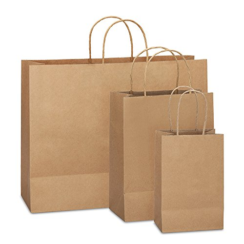 8in  X 4.75in X 10in - 10in X 5in X 13in - 16in X 6in X 12in  - 25 Pcs Each Size- Brown Retail Kraft Paper Gift Wrap Bag With Rope Handle