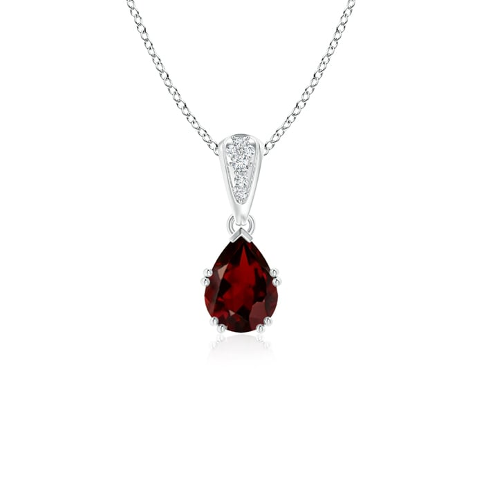 Angara Pear Garnet Necklace Pendant in White Gold I16IMOb24