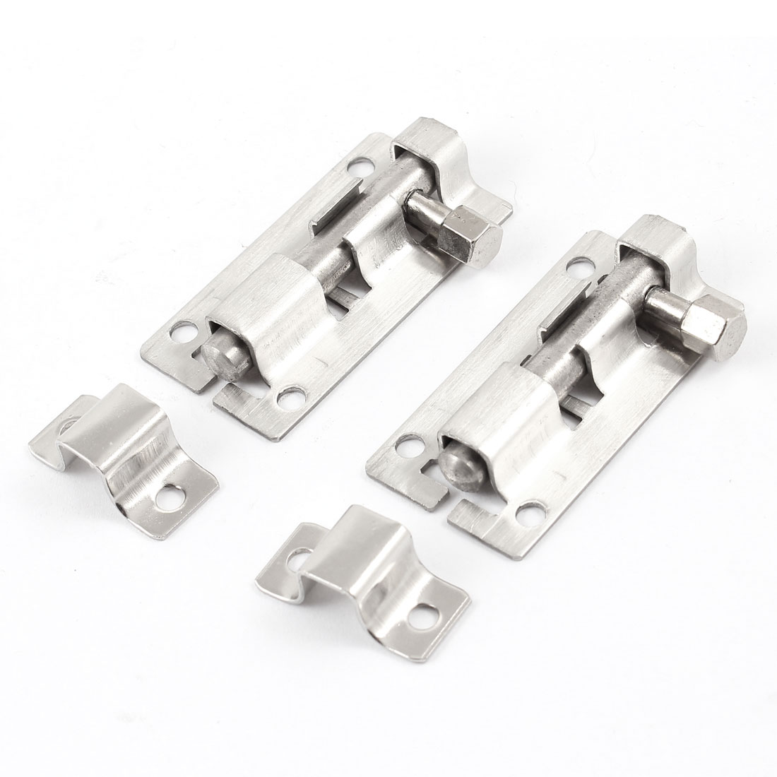 "Unique Bargains 2.4"" Stainless Steel Gate Security Latch  Bolt Set Silver Tone 2 Pcs"