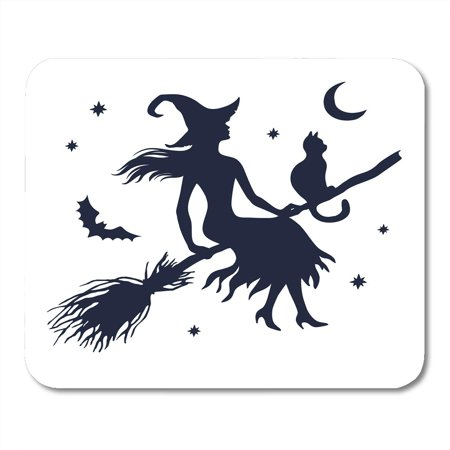 SIDONKU Halloween Silhouette of Witch Cat on Broom Moon and Stars Vintage Mousepad Mouse Pad Mouse Mat 9x10 inch](Witch Silhouette Halloween)