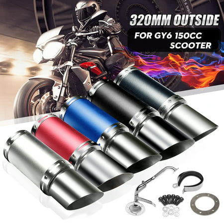 Stainless Steel Motorcycle Universal Exhaust Pipe Exhaust Pipe Muffler System Short Carbon Fiber Gy6 50cc 125cc 150cc 4 Stroke Chinese Scooter ATV Pit Dirt Bike Engine Replacement Stainless Steel Motorcycle Exhaust
