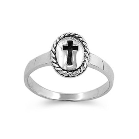 Sterling Silver Solid Fancy Ring - Christning! Baptism Baby Ring Fancy Cross .925 Sterling Silver Ring Sizes 1-9