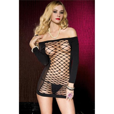 Music Legs 6577-BLACK Opaque Off The Shoulder Mini Dress with Large Net Center Panel - Black - image 1 of 1