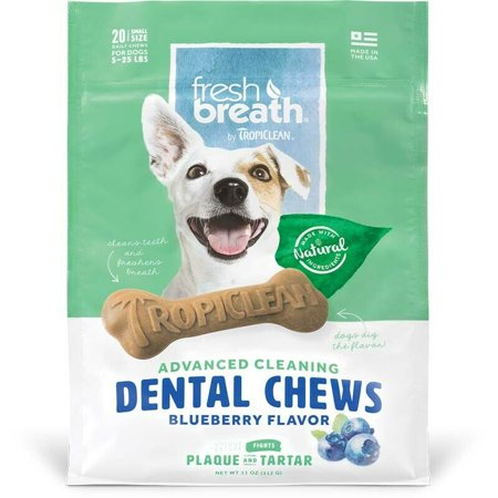 Natural Dog Chew Treats Healthy Fresh Breath Dental Bones Choose Size & Formula (Blueberry - Small 20ct)