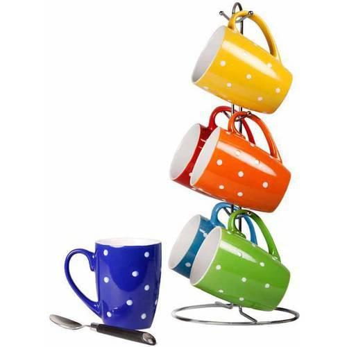 6-Piece Mug Set with Stand, Polka Dots
