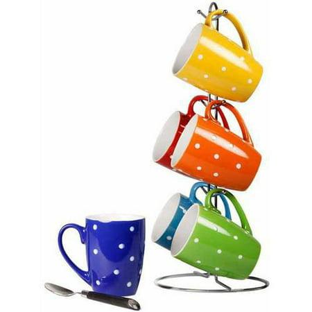 - 6-Piece Mug Set with Stand, Polka Dots