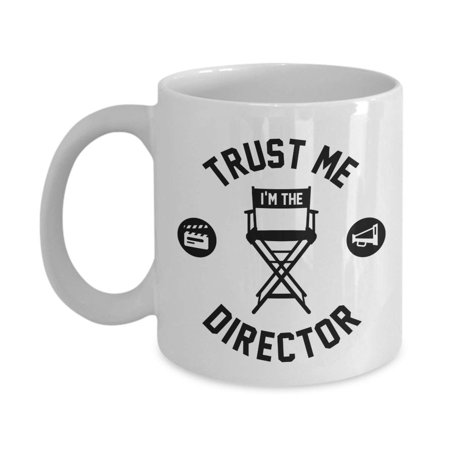 Trust Me I'm The Director With Chair, Clapper Board And Megaphone Filmmaking Themed Coffee & Tea Gift Mug, Stuff, Décor, Ornament, Collection Items And Accessories For Film Makers & Movie - Movie Director Megaphone