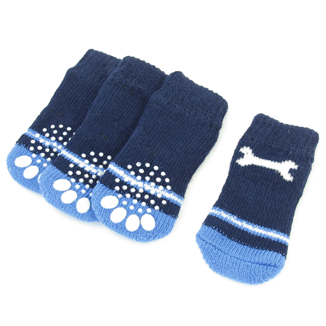 Unique Bargains 2 Pairs Doggy Pet Striped Stretchy Acrylic Knitted Socks Two Tone Blue Size M